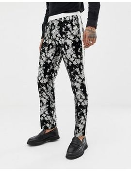 Asos Edition Slim Tuxedo Suit Pants In Monochrome Floral Jacquard by Asos Edition