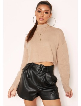 Betsy Taupe High Neck Cropped Jumper by Missy Empire