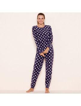 Lounge & Sleep   Purple Spot Print Fleece Pyjama Set by Lounge & Sleep