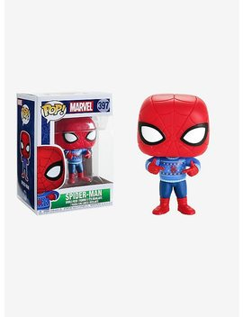 Funko Marvel Pop! Spider Man Holiday Sweater Vinyl Figure by Hot Topic