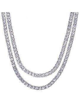 """Men's Hip Hop Lab Created Diamond 4 Mm 2 Combo Set 20"""" + 22"""" Tennis Chain Necklace by Metaltree98"""