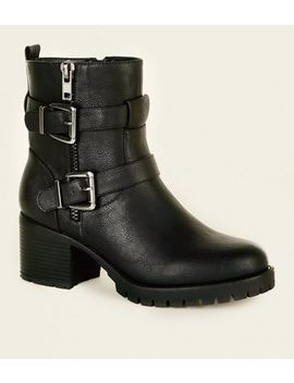 Wide Fit Black Buckle Strap Biker Boots by New Look