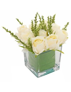 My Gift Artificial Ivory Roses In Square Glass Vase, Faux Flower Arrangements by My Gift