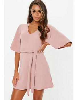 Petite Pink Kimono Sleeve Plunge Dress by Missguided