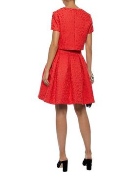 Roleo Pleated Metallic Jacquard Dress by Maje