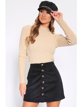 Black Button Front Cord Skirt by I Saw It First