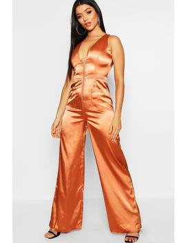 Utility Cargo Satin Zip Detail Wide Leg Jumpsuit by Boohoo