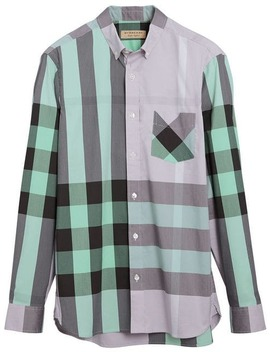 Button Down Collar Check Stretch by Burberry