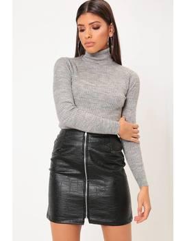 Black Croc Print Faux Leather Mini Skirt by I Saw It First