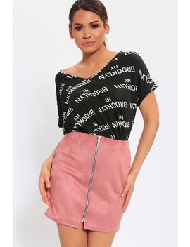 Pink Zip Thru Suede Mini Skirt by I Saw It First
