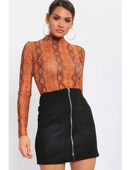 Black Zip Thru Suede Mini Skirt by I Saw It First