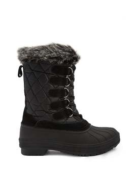 Quilted Faux Fur Trim Duck Boots by Forever 21