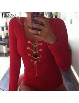 Plus Size 2018 Zanzea Rompers Womens Slim Fit Playsuits Long Sleeve Tops Jumpsuit Sexy Bodysuit Short Overalls Ladies Lace Up by Zanzea