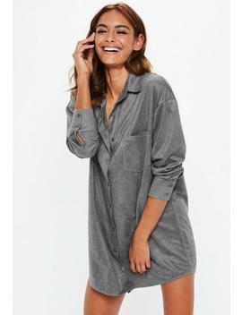 Gray Oversized Faux Suede Shirt Dress by Missguided