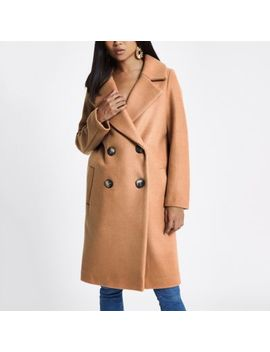 Petite Beige Long Double Breasted Coat by River Island