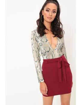 Wine Tie Waist Crepe Mini Skirt by I Saw It First