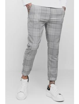 Smart Window Pane Checked Cuffed Cropped Jogger by Boohoo