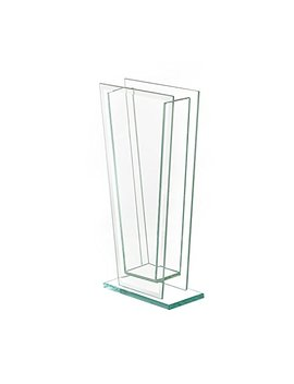 """Royal Imports Flower Glass Vase Decorative Centerpiece For Home Or Wedding Tall Tapered Clear Trim Plate Glass With Base, (5"""" W, 2"""" Opening) 12"""" Tall by Royal Imports"""
