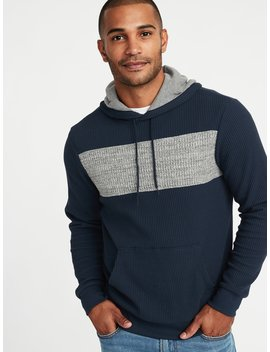 Color Blocked Thermal Knit Pullover Hoodie For Men by Old Navy