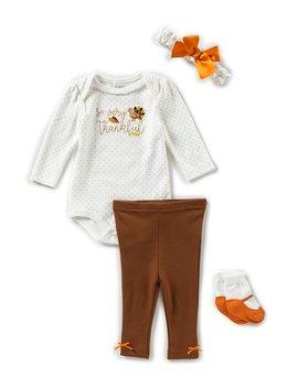 Baby Girls Newborn 9 Months Thankful Headband,Bodysuit,Pant &Amp; Sock 4 Piece Layette Set by Starting Out