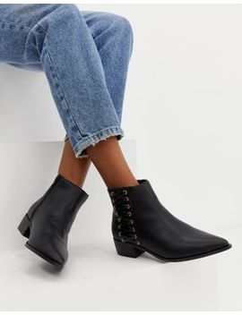 London Rebel Pointed Flat Ankle Boots by Shoes