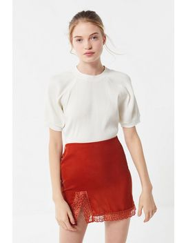 Uo Lucy Velvet Lace Trim Mini Slip Skirt by Urban Outfitters