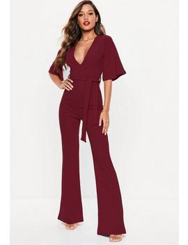 Wine Kimono Sleeve Plunge Jumpsuit by Missguided