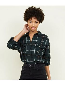 Green Check Print Pocket Front Cotton Shirt by New Look