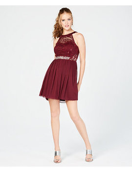 Juniors' Embellished Fit & Flare Dress by Bcx