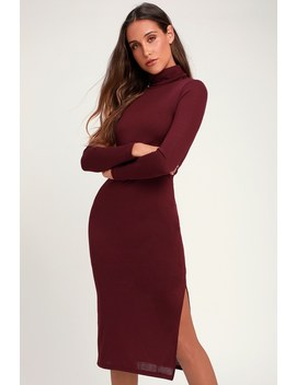 Crescio Burgundy Turtleneck Midi Sweater Dress by Lulus