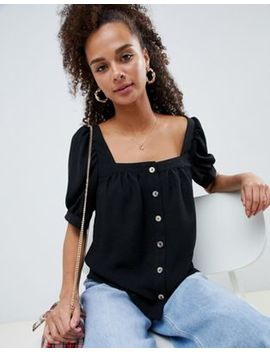 Asos Design Button Through Square Neck Top by Asos Design