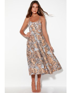 Layla Light Blue And Rose Gold Floral Print Midi Dress by Bariano
