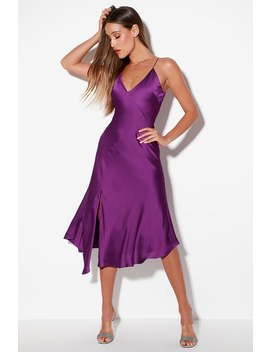 Infinity Purple Satin Sleeveless Midi Dress by Keepsake