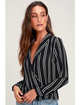 Charlise Black Striped Long Sleeve Surplice Top by Lush
