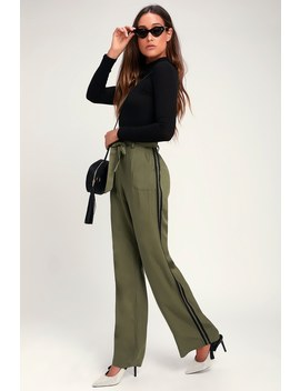 Ryman Olive Green Paper Bag Waist Striped Wide Leg Pants by Lulus