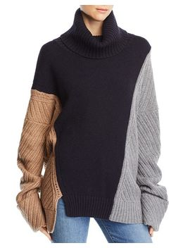 Viola Knits Deconstructed Color Blocked Turtleneck Sweater by French Connection