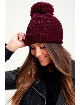 Lakewood Burgundy Knit Pom Pom Beanie by Lulus