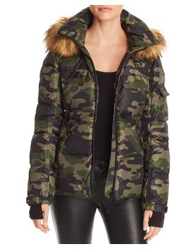 Faux Fur Trim Camo Hooded Puffer Jacket   100 Percents Exclusive by Aqua