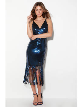 Frankie Navy Blue Sequin Fringe Midi Dress by Dress The Population