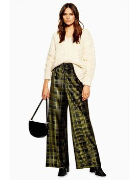Check Velvet Wide Leg Trousers by Topshop