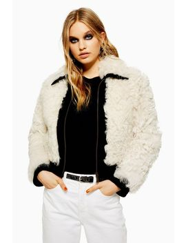 Monochrome Shearling Jacket by Topshop