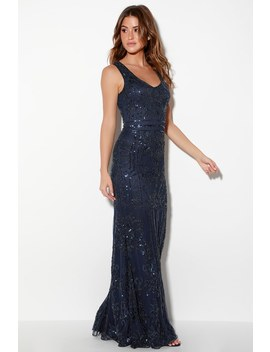 Dramatic Entrance Navy Blue Sequin Maxi Dress by Lulus