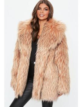 Blush Tipped Premium Faux Fur Collar Coat by Missguided