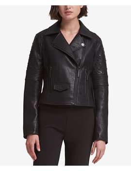 Studded Faux Leather Moto Jacket by Dkny