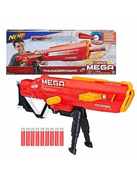Nerf Thunderhawk Accu Strike Mega Toy Blaster   Longest Blaster   10 Official Accu Strike Mega Darts, 10 Dart Clip, Bipod   For Kids, Teens, And Adults by Nerf
