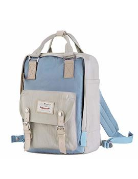 "Himawari School Functional Travel Waterproof Backpack Bag For Men & Women | 14.9""X11.1""X5.9"" | Holds 13 In Laptop (Beige & Blue) by Himawari"