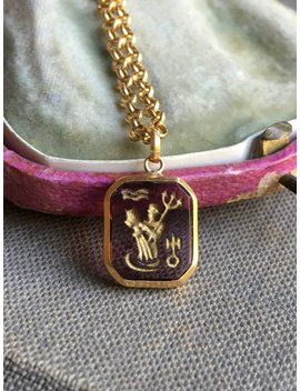 Zodiac Sign Aquarius Talisman Charm With Glass Intaglio And 18 K Gold by Etsy