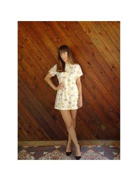 Neutral Floral Ultra Mod Mini Shift Dress   Vintage 60s   Xs/S by Etsy