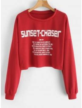 Sunset Letter Crop Sweatshirt   Red S by Zaful