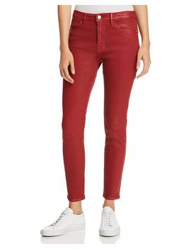 Le High Skinny Jeans In Hunter Red Coated by Frame